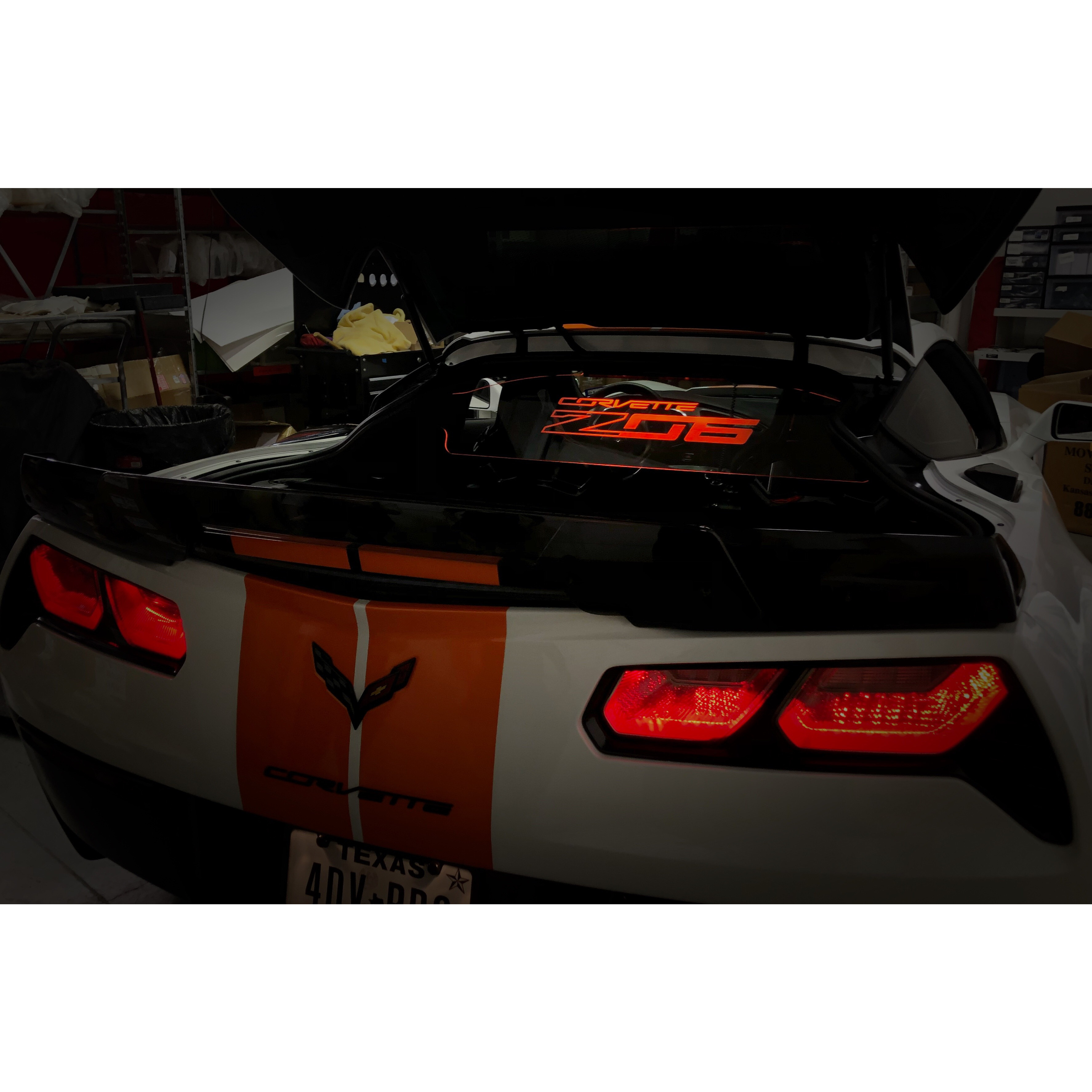 Present Chevrolet Corvette C7 Convertible with Blue Illuminated Laser Etched Stingray Logo Graphic Wind Restrictor LED Wind Deflector for 2014